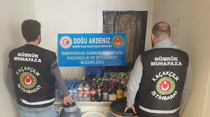 Gümrük Muhafaza Ekiplerince İskenderun'da 668 Litre Sahte İçki Ele Geçirildi