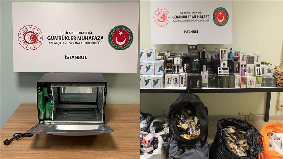 Gümrük Muhafaza Ekipleri İstanbul'da Mikrodalga Fırında Uyuşturucu, Depoda Elektronik Sigara ve Aksamı Yakaladı