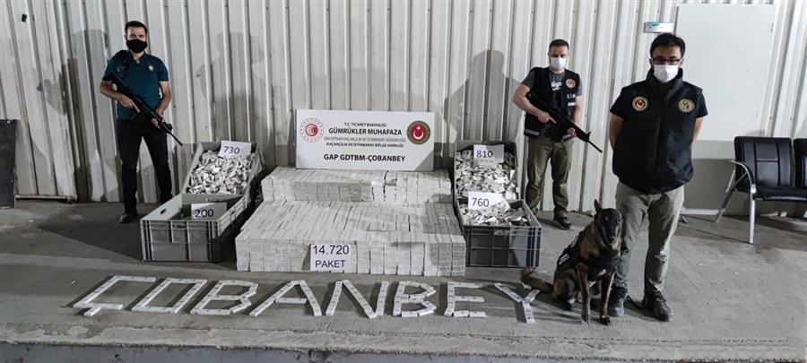 Çobanbey ve Öncüpınar'da 14 bin 720 adet bandrolsüz sigara ve 3,2 kilogram uyuşturucu ele geçirildi